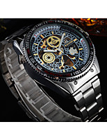 WINNER Men's Dress Watch Wrist watch Mechanical Watch Automatic self-winding Hollow Engraving Stainless Steel Band Luxury Vintage Silver