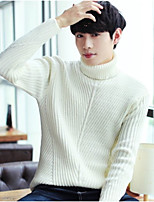 Men's Casual/Daily Regular Pullover,Solid Turtlenecks Long Sleeves Cotton Linen Fall/Autumn Thick strenchy