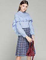 Women's Work Sexy Shirt Skirt Suits,Solid Plaid/Check Long Sleeves Ruffle Polyester Spandex