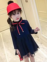 Girl's Solid Dress,Rayon Polyester Long Sleeves Casual Princess Navy Blue