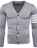 cheap -Men's Daily Regular Cardigan,Color Block V Neck Long Sleeves Cotton Spring, Fall, Winter, Summer Thin Micro-elastic