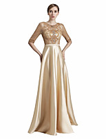 A-Line Ball Gown Jewel Neck Floor Length Satin Chiffon Prom Formal Evening Dress with Beading Lace by Sarahbridal