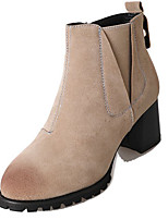 cheap -Women's Shoes PU Spring Fall Comfort Boots For Outdoor Almond Black