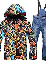 Men's Ski Jacket with Pants Warm Waterproof Windproof Breathability Lightweight Ski / Snowboard Winter Sports Cotton