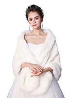 Sleeveless Faux Fur Wedding Party / Evening Women's Wrap With Smooth Shawls