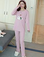 Nuisette & Culottes Pyjamas Femme,Imprimé Motif Animal Polyester Rose Claire Bleu royal