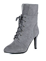 Women's Shoes Leatherette Winter Fashion Boots Boots Stiletto Heel Pointed Toe Mid-Calf Boots Lace-up For Casual Dress Red Yellow Gray