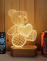 1 Set Of 3D Solid Wood LED Night Light USB Mood Lamp Remote Control Dimming Gift Bear