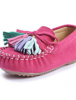 cheap -Girls' Shoes Real Leather Nubuck leather Spring Fall Comfort Loafers & Slip-Ons Walking Shoes Tassel for Casual Dark Blue Fuchsia Pink