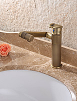 Antique Deck Mounted Rotatable Ceramic Valve Single Handle One Hole Antique Brass , Bathroom Sink Faucet