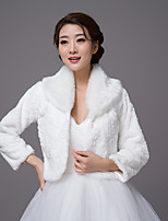 3/4 Length Sleeves Faux Fur Wedding Party / Evening Women's Wrap With Pattern/Print Shrugs