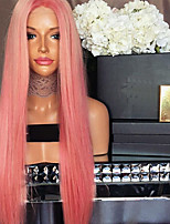 cheap -Women Human Hair Lace Wig Brazilian Remy Lace Front 130% Density With Baby Hair Kinky Straight Wig Blonde/Pink Short Medium Length Virgin
