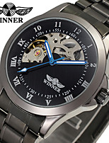WINNER Men's Dress Watch Wrist watch Mechanical Watch Automatic self-winding Hollow Engraving Stainless Steel Band Luxury Vintage Black