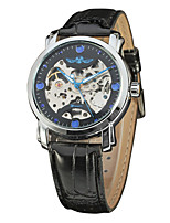 WINNER Men's Dress Watch Wrist watch Mechanical Watch Automatic self-winding Hollow Engraving Leather Band Luxury Vintage Black