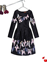 Girl's Event/Party Dailywear Dress,Cotton Polyester Long Sleeves Cute Casual Princess White Black