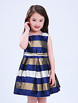 Girl's Holiday Going out Striped Dress,Polyester Sleeveless