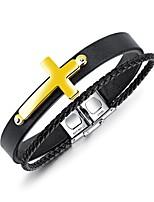 Homme Manchettes Bracelets Bracelet Classique Rétro Décontracté Européen Mode Cuir Acier Forme de Cercle Bijoux Pour Décontracté