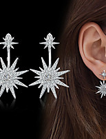 Women's Drop Earrings Cubic Zirconia Rhinestone Adorable Elegant Silver Cubic Zirconia Flower Jewelry For Wedding Evening Party