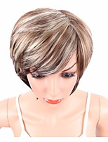 Women Synthetic Wig Capless Short Wavy Brown Side Part Highlighted/Balayage Hair Layered Haircut With Bangs Party Wig Celebrity Wig