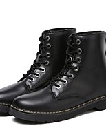 cheap -Women's Shoes Cowhide Nappa Leather Fall Winter Comfort Fashion Boots Boots Round Toe For Casual Black White