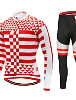 Cycling Jersey with Tights Unisex Long Sleeve Bike Clothing Suits Thermal / Warm Winter Sports Polyester Spandex Fleece Plaid/Check