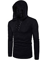 Men's Casual/Daily Regular Pullover,Solid Hooded Long Sleeves Cotton Polyester Autumn Medium Micro-elastic