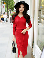 Women's Daily Work Casual Sheath Sweater Dress,Solid V Neck Midi Long Sleeve Cotton Acrylic Winter Fall High Waist Micro-elastic Opaque