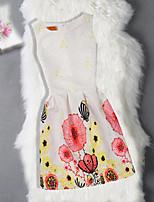 Robe Fille de Anniversaire Sortie Fleur Jacquard Papillon Coton Polyester Sans Manches