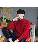 Men's Daily Going out Long Pullover,Solid Turtleneck Long Sleeves Polyester Spring Fall/Autumn Thick Micro-elastic
