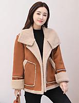 Women's Casual/Daily Simple Winter Fall Fur Coat,Solid Shirt Collar Long Sleeve Short Faux Fur