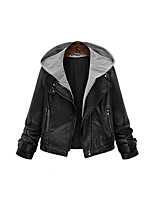 cheap -Women's Daily Simple Casual Winter Fall Leather Jacket,Solid Hooded Long Sleeve Short PU Beaded