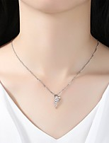 Women's Pendant Necklaces Cubic Zirconia Rhinestone Drop Silver Cubic Zirconia Simple Elegant Jewelry For Wedding Evening Party