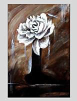 Недорогие -Ручная роспись Цветочные мотивы/ботанический Modern 1 панель Холст Hang-роспись маслом For Украшение дома