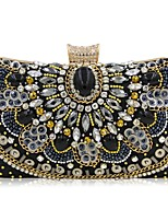 Women Bags All Seasons Polyester Evening Bag Flower(s) Pearl Detailing for Wedding Event/Party Black