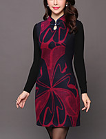 Women's Daily Plus Size Street chic Sheath Dress,Print Stand Above Knee Long Sleeve Wool Winter Fall Mid Rise Inelastic Thick