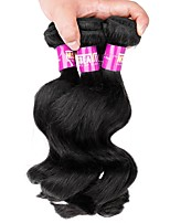 3 Pieces Natural Black Loose Wave Malaysian Human Hair Weaves Hair Extensions