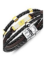 Homme Manchettes Bracelets Bracelet Classique Rétro Décontracté Mode Elégant Cuir durci Acier Forme Géométrique Bijoux Pour Décontracté