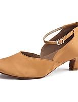 Women's Modern Satin Heel Indoor Cuban Heel Dark Brown 2 - 2 3/4 Customizable