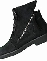 cheap -Women's Shoes Knit PU Winter Comfort Fashion Boots Boots Round Toe Booties/Ankle Boots For Casual Dress Black