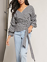 cheap -Women's Daily Holiday Street chic Shirt,Plaid V Neck Long Sleeve Polyester