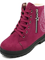 cheap -Women's Shoes PU Winter Comfort Snow Boots Boots Round Toe Booties/Ankle Boots For Casual Brown Fuchsia Black