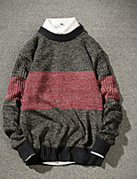 Men's Casual/Daily Short Pullover,Color Block Round Neck Long Sleeves Wool Fall Winter Medium Micro-elastic