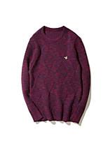 Для мужчин На каждый день Обычный Пуловер Однотонный,Круглый вырез Длинный рукав Другое Средняя Слабоэластичная