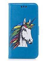 Недорогие -Кейс для Назначение SSamsung Galaxy S8 Plus S8 Бумажник для карт Флип Рельефный С узором Чехол единорогом Животное Твердый Искусственная