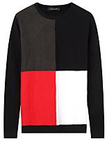 Для мужчин На каждый день Простой Обычный Пуловер Однотонный Контрастных цветов,Круглый вырез Длинный рукав Полиэстер Зима Осень Толстая