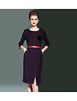 SHE IN SUN Women's Going out Casual/Daily Sheath Swing Dress,Striped Round Neck Knee-length 3/4 Length Sleeve Polyester All Seasons Fall Mid Rise