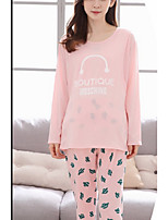 Costumes Pyjamas Femme,Solide Coton Polyester Rose Claire