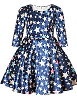 cheap -Girl's Daily Going out Solid Print sky Dress,Cotton Polyester Spring Fall ¾ Sleeve Cute Casual Princess Blue