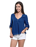 cheap -Women's Work Beach Sexy Blouse,Solid V Neck Long Sleeve Polyester Sheer