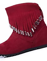 cheap -Women's Shoes PU Winter Combat Boots Boots Round Toe Mid-Calf Boots Rhinestone For Casual Red Black